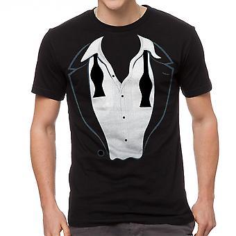 Hauska rento Tuxedon tulosta graafinen miesten musta t-paita