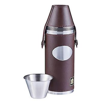 Orton West 8oz 4 Cup Hunting Flask - Brown