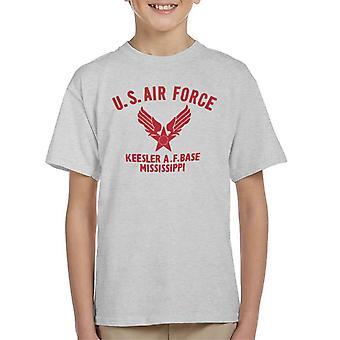 US Airforce Keesler AF Base Mississippi Red Text Kid's T-Shirt