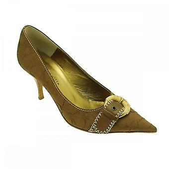 Guglielmo Rotta Taupe Satin With Weave Buckle