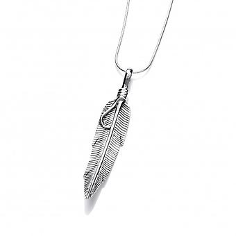 """Cavendish French Silver Navajo Feather Pendant with 16-18"""" Silver Chain"""