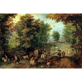 Landscape with a Ford, Jan Brueghel The Elder, 40x60cm with tray