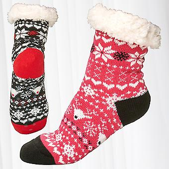 1 Pair Thermo Socks Fully Lined Socks Anti Slip ABS Sole Nubs Teddy Fur Knitwear