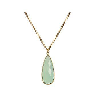 Gemshine Halskette meeresgrüner Chalcedon Edelstein - 925 Silber oder vergoldet