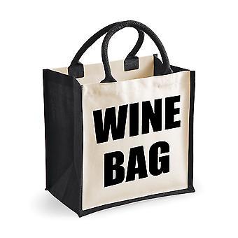 Medium Black Jute Bag Wine Bag