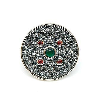 Sterling sølv Byzantinsk stil runde Disc Ring