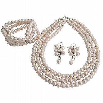 مجموعة مجوهرات العروس عرائس الكمال خيوط 3 الوردي لايت قلادة سوار أقراط مجموعة