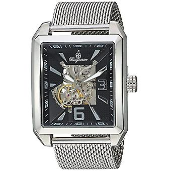 Burgmeister Men's Automatic Watch with black analog display dial and silver stainless steel strap bm325___121