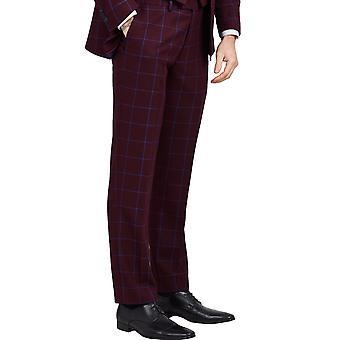 Dobell Herre Bourgogne Suit bukser Slim Fit Notch revers blå rude Check