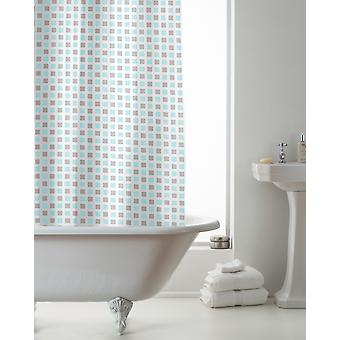 Country Club Hookless Shower Curtain, Mosiac Grey Teal