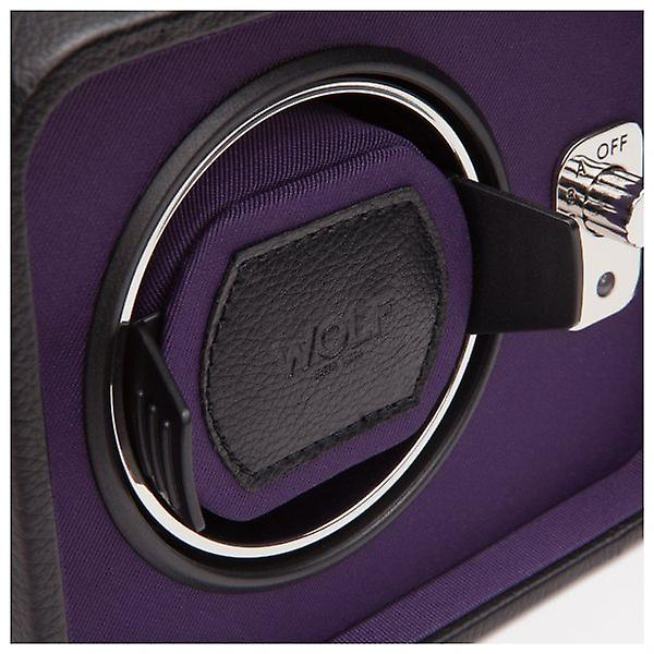 Wolf Designs Windsor Purple & Black Leather Single Watch Winder 2.5