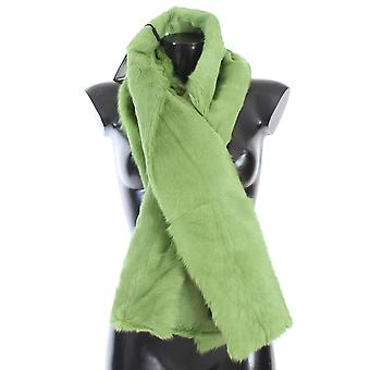 Green goat fur long scarf