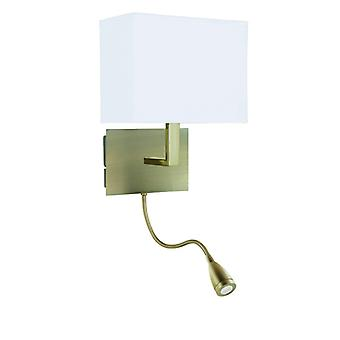 Adjustable Wall - 2 Light Wall Bracketracket, Led Flexi Arm, Antique Brass, White Shade