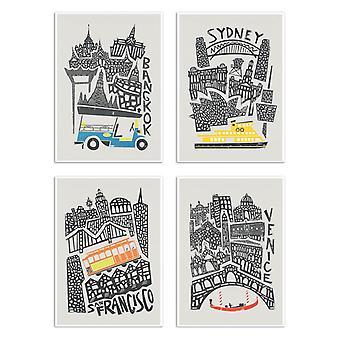 4 kunst-posters 20 x 30 cm-over de hele wereld-Fox en Velvet