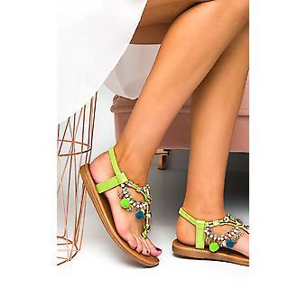 IKRUSH Womens Steffi kedja Jewelled T-Bar sandaler