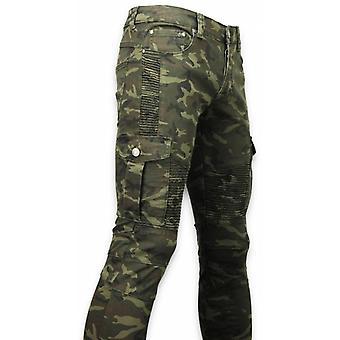 Side Pocket Jeans - Slim Fit Biker Jeans Camouflage - Green