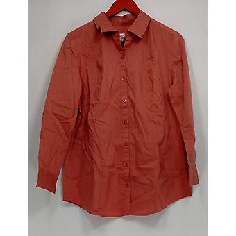 デニム&Co. Women's トップボタンフロントシャツ 新アンティークローズピンク A280664