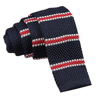 Navy with Red & White Thin Stripe Knitted Skinny Tie