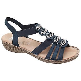 Rieker Open Toe T-bar sandália vestido azul