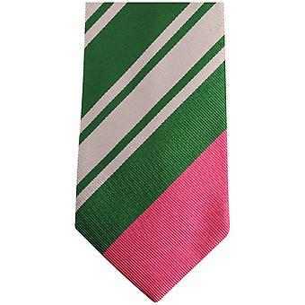 Gene Meyer New Pensworth Diagonal Striped Tie - Silver/Green/Pink