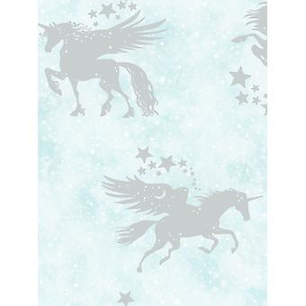 Over the Rainbow Iridescent Unicorns Wallpaper Teal / Silver Holden