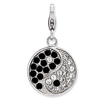925 Sterling Silver Fancy Lobster Closure Enameled 3 d Ying Yang Sign with Lagosta Clasp Charm Pendant Necklace Jewely