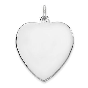 925 Sterling Silber poliert gravierbare gravierbare Liebe Herz Scheibe Anhänger Anhänger Halskette Schmuck Geschenke für Frauen