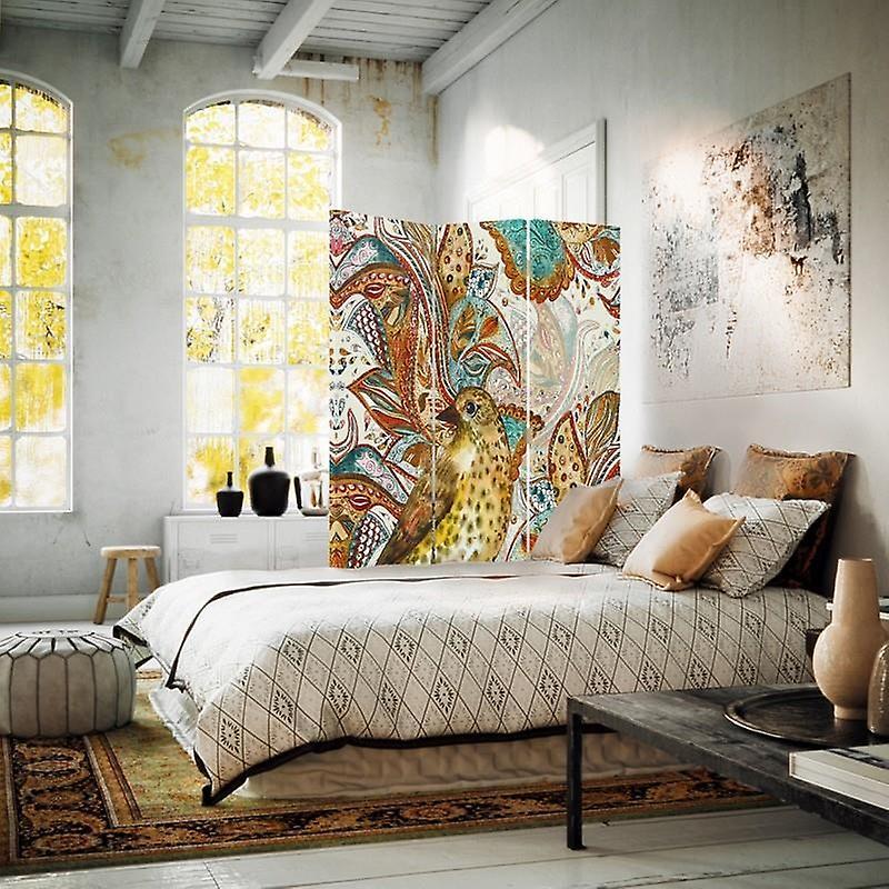 Diviseur de chambre, 3 panneaux, à un seul côté, toile, oiseau oriental
