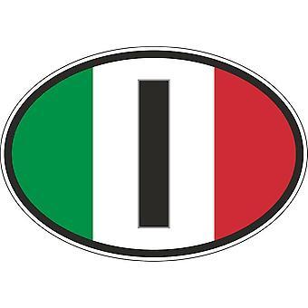 Autocollant Sticker Oval Voiture Moto I Italie Drapeau Italien Flag