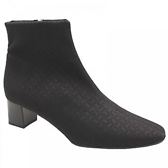 Peter Kaiser Osaka Black Fabric Low Heel Ankle Boots