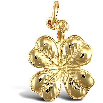 Jewelco London Solid 9ct keltainen kulta 4 Leaf Clover Charm riipus