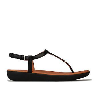 Womens Fitflop Tia Crystal Leather Toe Thong Sandals In Black