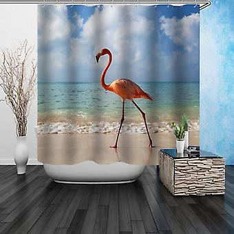 Singolo Flamingo Sulla Spiaggia Doccia Tenda