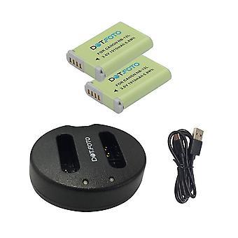 Stip. foto NB-12L vervangende batterij (2-pack) & snelle dubbele USB-oplader voor Canon [Zie beschrijving voor compatibiliteit]