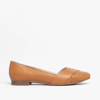 Hush Puppies Marley Ladies Leather Ballerina Shoes Tan