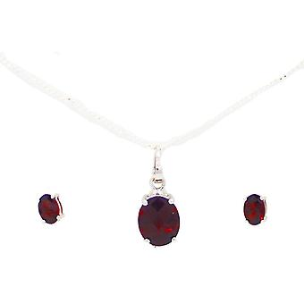 Vincenza semi-precious crystal stones birthstone necklace & earring set 925 sterling silver
