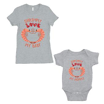Shrimply Love Baby Mommy Mom and Baby Matching Gift T-Shirts Grey