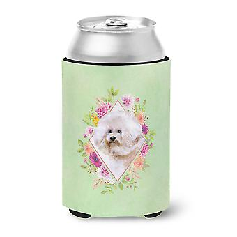 Carolines Treasures  CK4279CC Bichon Fris� #1 Green Flowers Can or Bottle Hugger