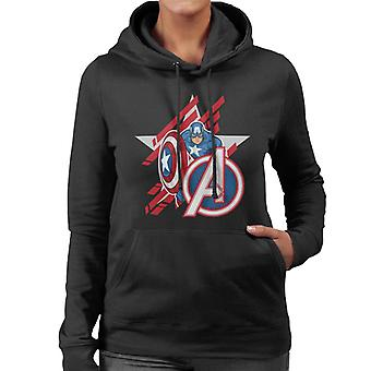Marvel Avengers Captain America Stars And Stripes Women's Hooded Sweatshirt