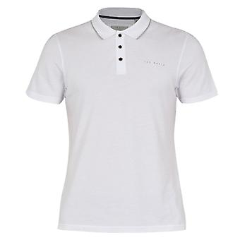 Ted Baker Mens White Bloko Branded Polo Shirt
