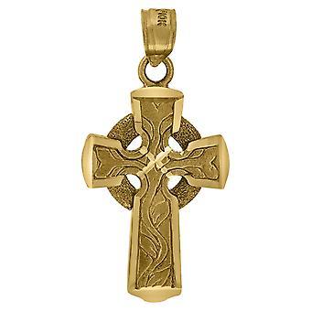 10k sárga arany férfi nők texturált kereszt vallási charm medál nyaklánc intézkedések 31.8x16.00mm Széles Ékszer Ajándékok