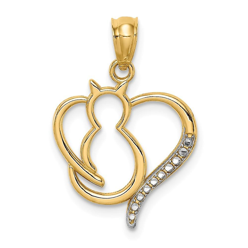 14k White Rhodium Sitting Cat In a Love Heart Pendant Necklace Jewelry Gifts for Women - .7 Grams