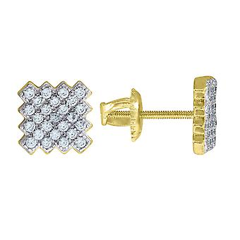 Yellow tone 925 Sterling Silver Mens Round CZ Cubic Zirconia Simulated Diamond Cluster Square Fashion Stud Earrings Jewe