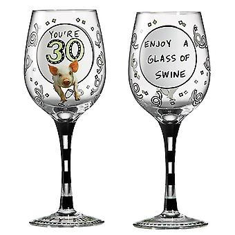 Hoots N  Howlers Omg Youre 30 Wine Glass