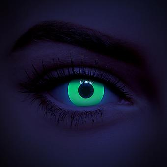 Green UV i-Glow Zombie Halloween Colored Contact Lentilles (Quotidien)