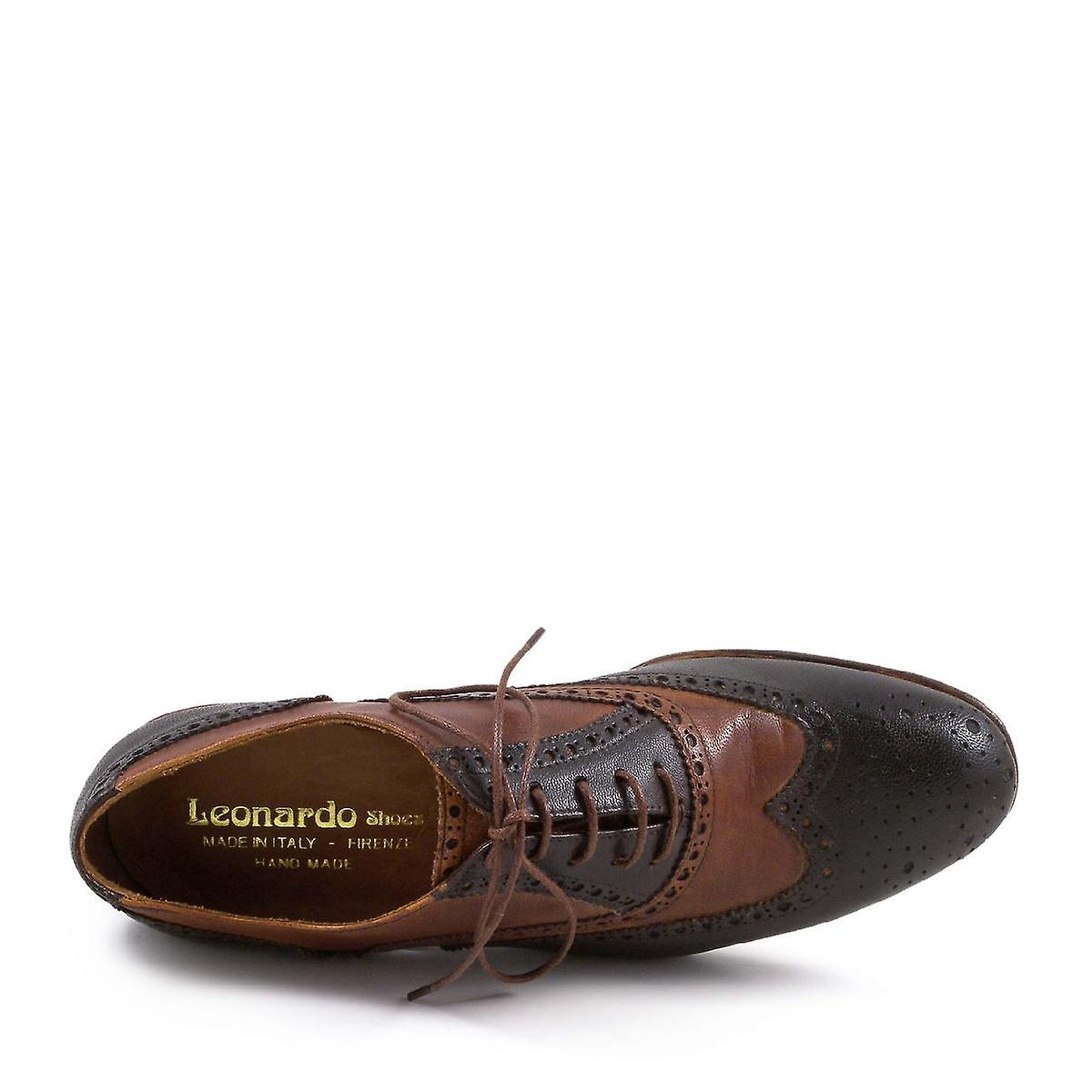 Leonardo Shoes Women's handmade wingtip oxford shoes dark brown/tan leather
