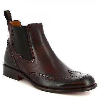 Leonardo Schuhe Men's handgemachte Brogues Stiefeletten aus rotbraunem Kalbsleder
