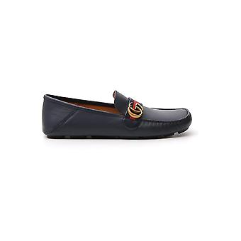 Gucci 450891dtm104062 Men's Blue Leather Loafers