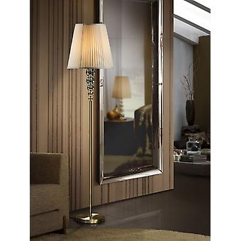 Schuller Mercury - Floor lamp of 1 light. Made of glass in champagne tonality, metal parts and base in aged brass finish. Ribboned beige shade. - 661946NUK