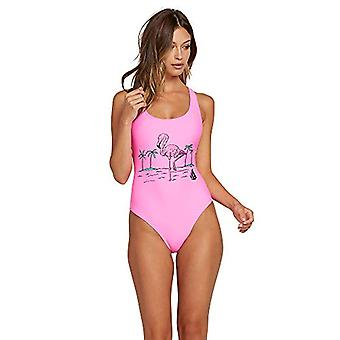 Volcom Women's Junior's Fresh Ink One Piece Swimsuit, Electric Pink, Medium
